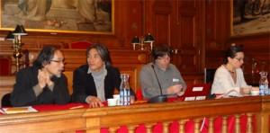 Derniers réglages avant le lancement. De droite à gauche: Agnès Sinaï, Bruno Chareyron, Wataru Iwata et Kolin Kobayashi (Photo Copyright Richard Varrault)